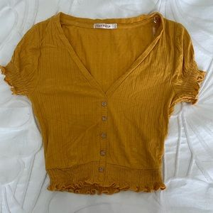 Mustard Yellow Button Up Top